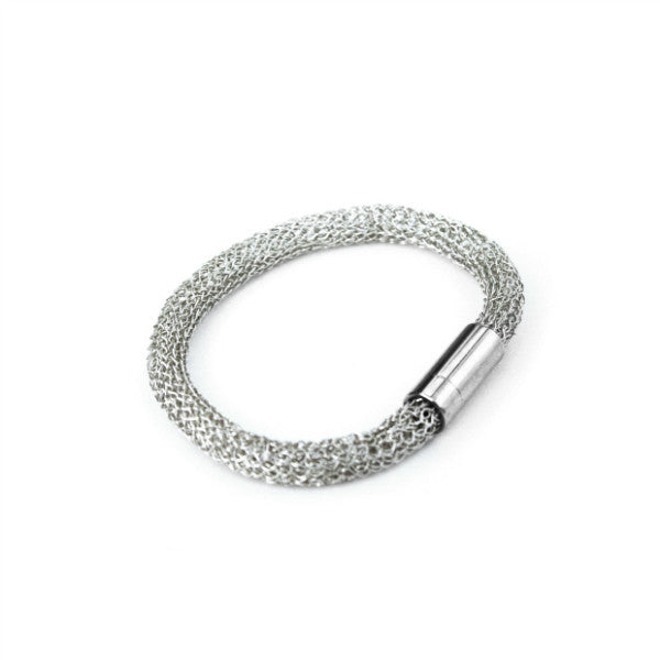 Juno James Sterling Silver Hand Crocheted Bracelet