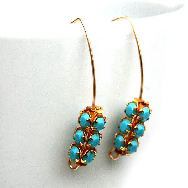 Juno James Gold Earrings with Rare Swarovski Crystal Beads