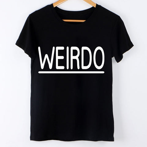 Women Casual WEIRDO Femme Black Tees