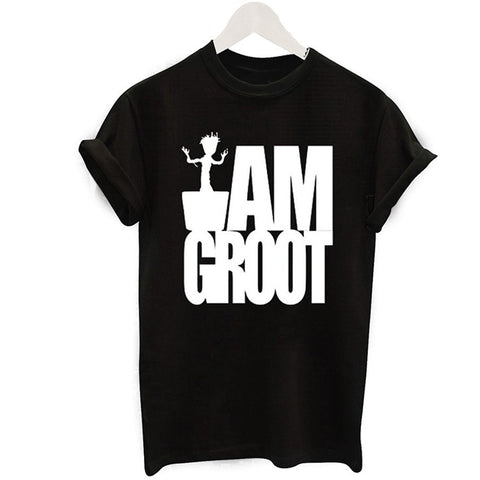 Women Black I AM GROOT T-Shirts Femme Loose