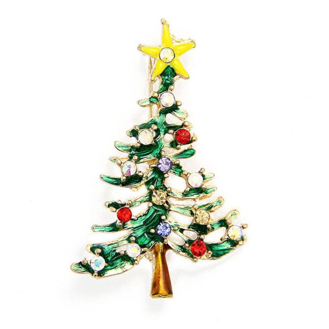 Christmas Cute Tree Brooch Pins Crystal Rhinestone Christmas Gift