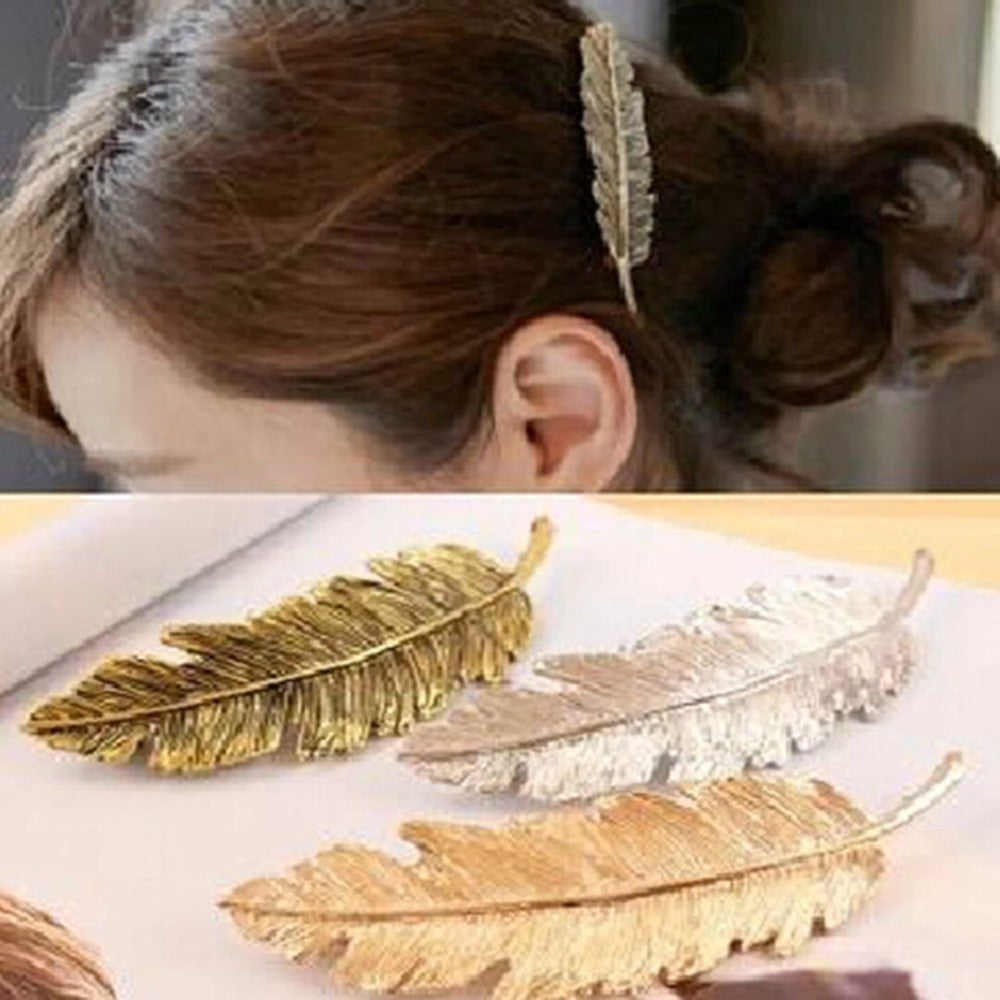Alloy Feather Hairpin