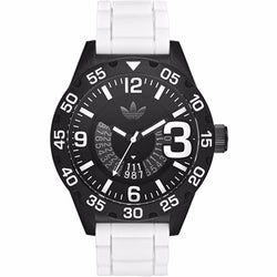 Adidas ADH3136 Newburgh Chronograph Black Dial White Silicone Watch ADH3136