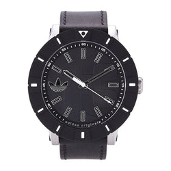 Adidas Men's Amsterdam Stainless Steel Watch Black Leather Band ADH2998