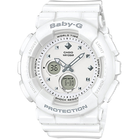 Casio Baby G BA-120 Series Standard Analog-Digital White Resin Band Watch BA-125-7A