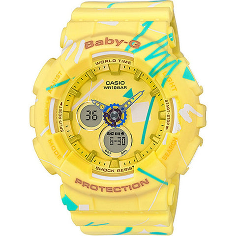 Casio Baby-G New Pop Graffiti Design Series Yellow Resin Watch BA120SC-9A