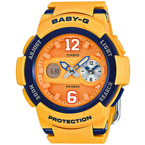 Casio Baby-G New Sporty BGA-210 Series Yellow Orange Resin Strap Watch BGA210-4B