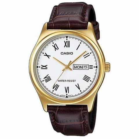 Casio Brown Leather Strap MenS Watch Mtp-V006Gl-7B