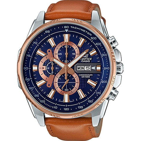 Casio Edifice EFR-549L-2A Rose Gold Ion Plated Bezel Leather Analog Watch