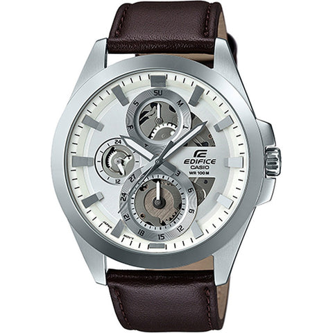Casio Edifice Mens Analog Leather Stap Watch ESK-300L-7A