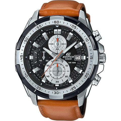 Casio Edifice Mens Chronograph Leather Strap Men's Watch EFR539L-1B