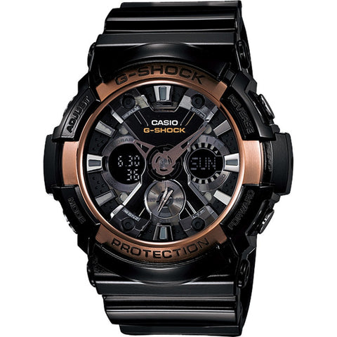 Casio G-Shock Extra-Large Black Rose Gold Analog Digital Watch GA-200RG-1A