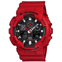 Casio G-Shock Red Resin Strap Watch GA-100B-4