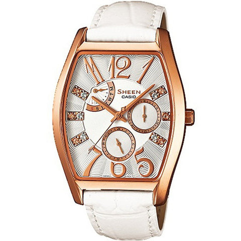 Casio Ladies' White Leather Strap Watch SHE-3026GL-7A
