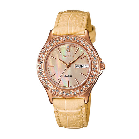 Casio Ladies' Yellow Leather Strap Watch SHE-4800GL-9A
