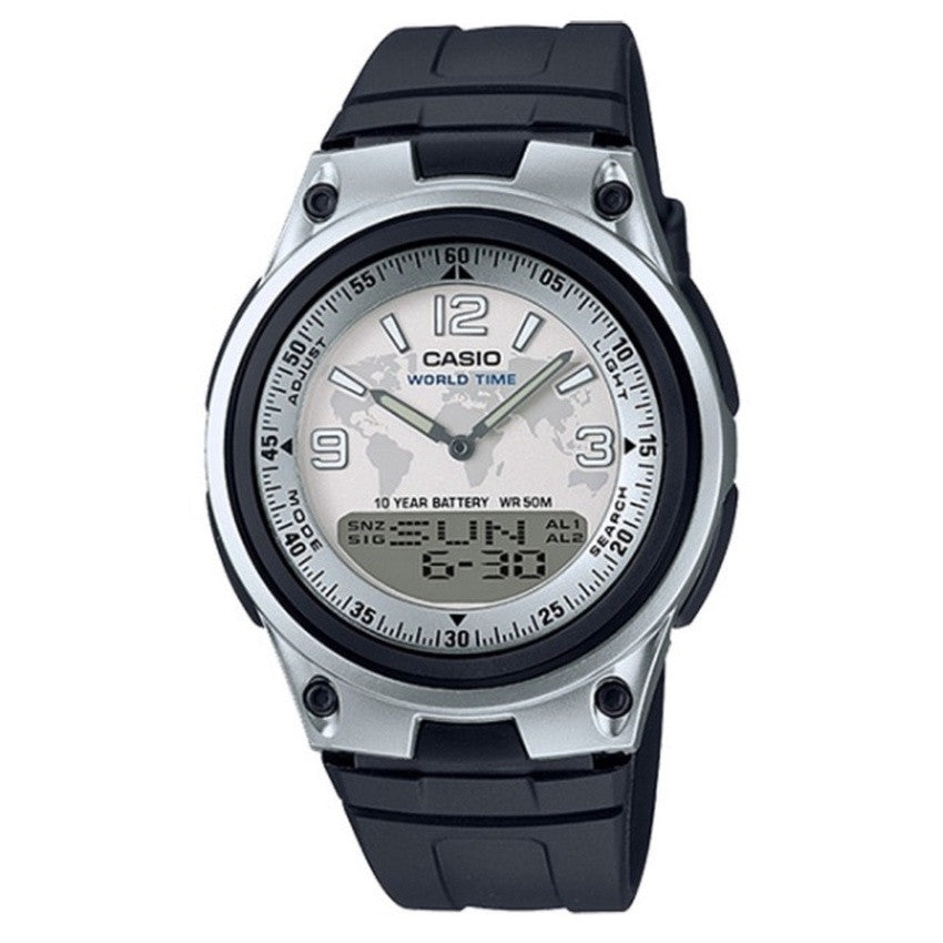 Casio Men¥Ë_s Analog Digital World Map Graphic Watch AW-80-7A2