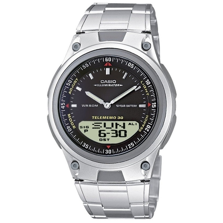 Casio Men's Analog Digital Stainless Steel Watch AW-80D-1A