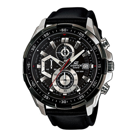 Casio Men's Black Leather Strap Watches EFR-539L-1A