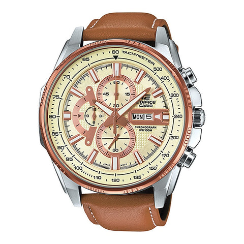Casio Men Edifice Analog Brown Strap Watch EFR-549L-7B