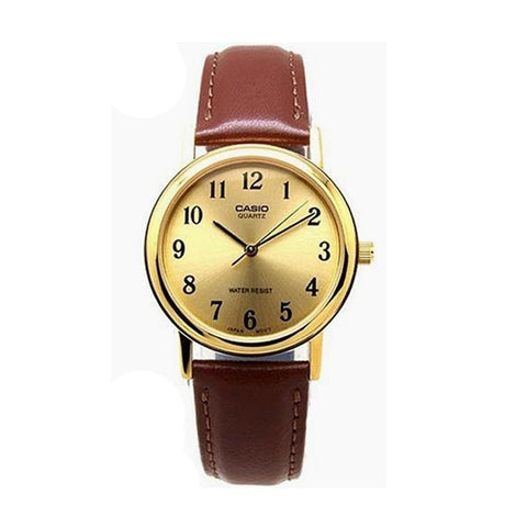 Casio Men's Brown Leather Strap Watch MTP-1095Q-9B1