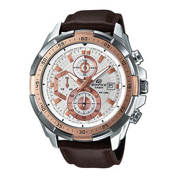 Casio Men's Brown Leather Strap Watches EFR-539L-7A