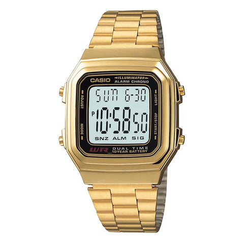 Casio Men's Gold Stainless Steel Data Bank Watch A178WGA-1A