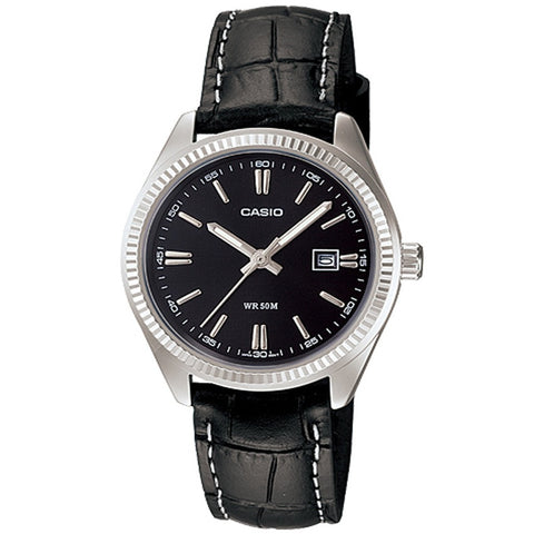 Casio Women's Black Leather Strap Watch LTP-1302L-1A