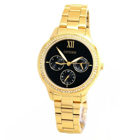 Citizen Analog Black Dial Gold Stainless Steel Women's Watch ED8152-58E