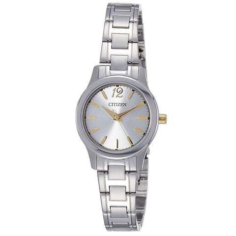 Citizen Analog Dress Quartz Stainless Steel Silver Ladies Watch EL3038-57A