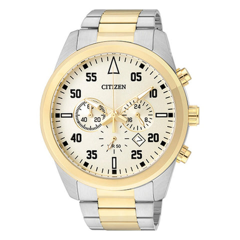 Citizen Analog Men's Silver Gold Stainless Steel Strap Watch AN8094-55P