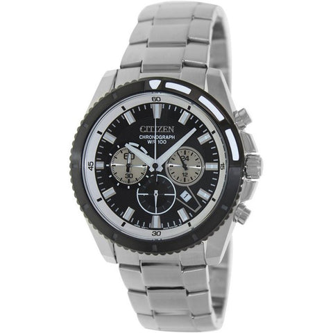 Citizen Chronograph Men's Silver Stainless Steel Strap Watch AN8011-52E