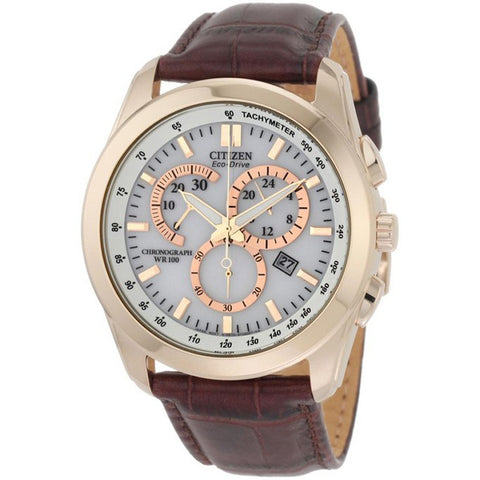 Citizen Eco-Drive Gold Chronograph Tachymeter Leather Watch AT1183-07A