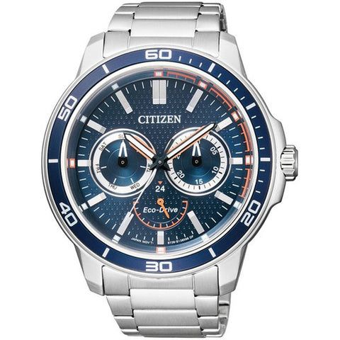 Citizen Eco-Drive Men Analog Blue Dial Mineral Glass 100M WR Watch BU2040-56L
