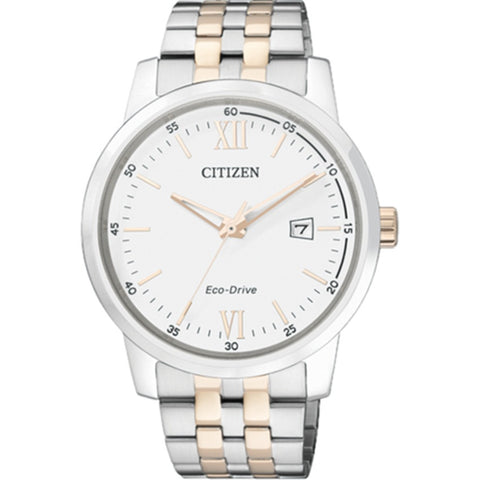 Citizen Eco-Drive Two Tone Gold Stainless Steel Solar Analog Watch BM7284-54A