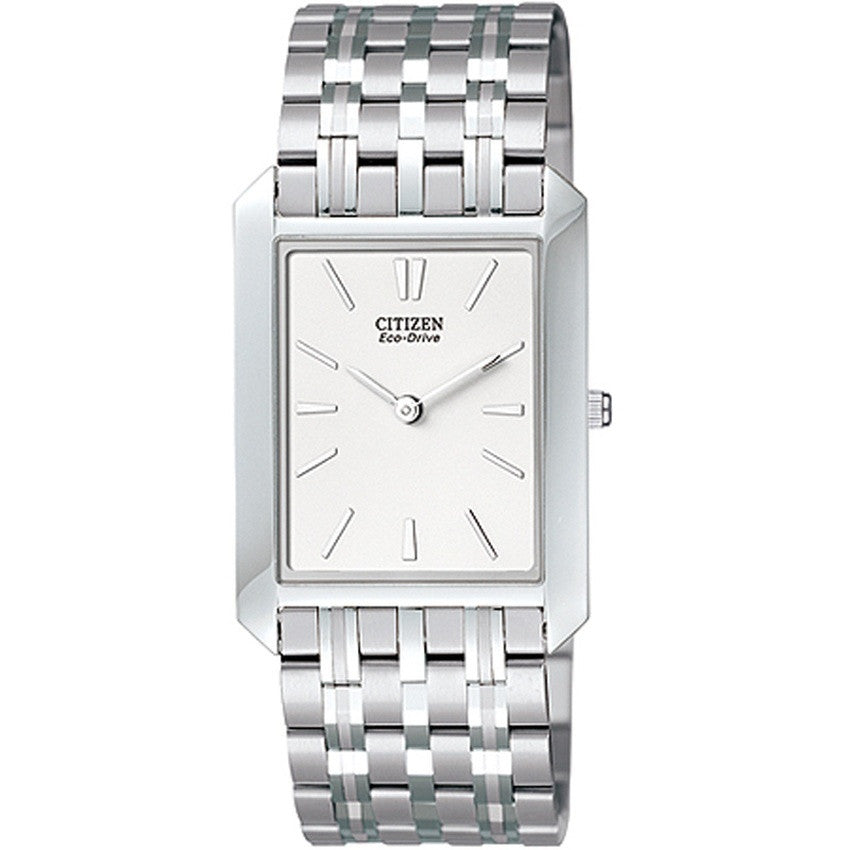 Citizen Men's Eco-Drive Stainless Steel Rectangular White Dial Watch AR3000-77A