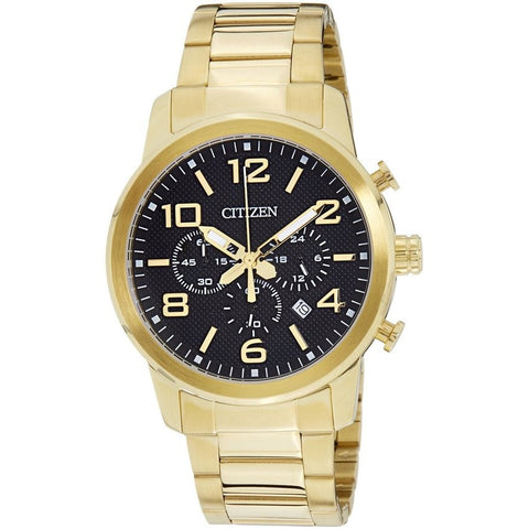Citizen Men's Analog Black Dial Gold Stainless Steel Quartz Chronograph Watch AN8052-55E