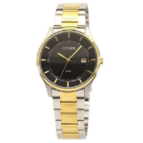 Citizen Men's Black Dial Two Tone Gold Stainless Steel Analog Watch BD0046-51E