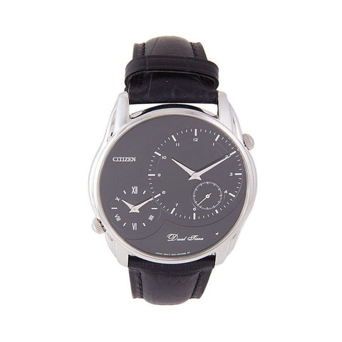 Citizen Men's Black Leather Analog Watch AO3021-09E