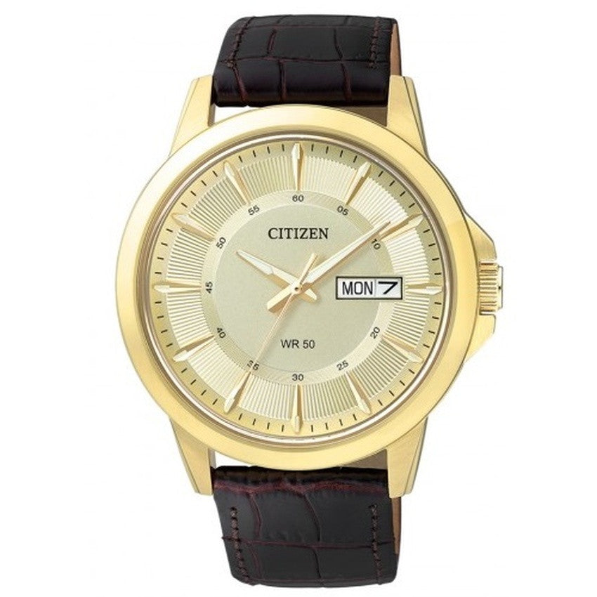 Citizen Men's Black Leather Strap Watch BF2003-50P