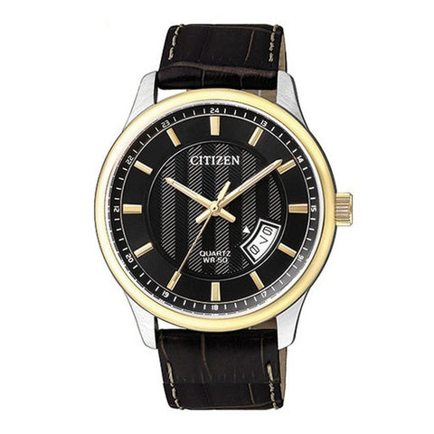 Citizen Men's Black Leather Strap Watch BI1054-12E