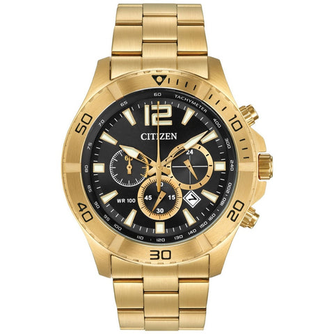 Citizen Men's Chronograph Gold Stainless Steel Black Dial Watch AN8122-51E