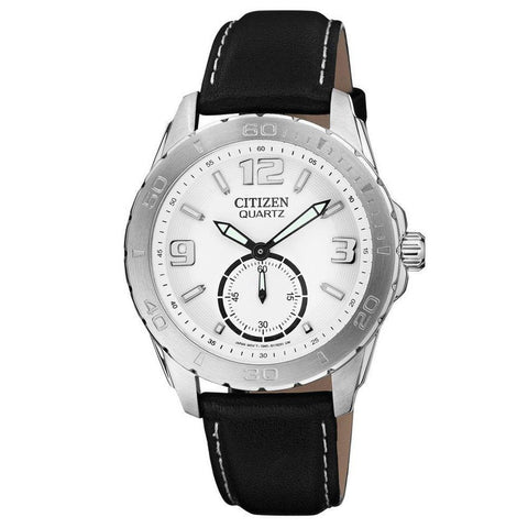Citizen Men's Chronograph White Dial Quartz Leather Watch AO3010-05A