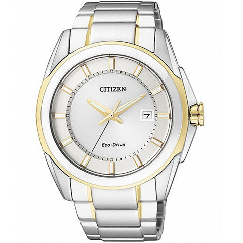 Citizen Men's Dual Tone White Dial Stainless Steel Strap Watch BM6725-56A