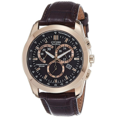 Citizen Men's Eco-Drive Chronograph Genuine Leather Black Dial Watch AT1183-07E