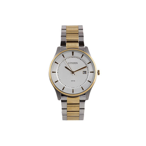 Citizen Men's Eco-drive White Dial Two Tone Gold Stainless Steel Analog Casual Watch BD0046-51A