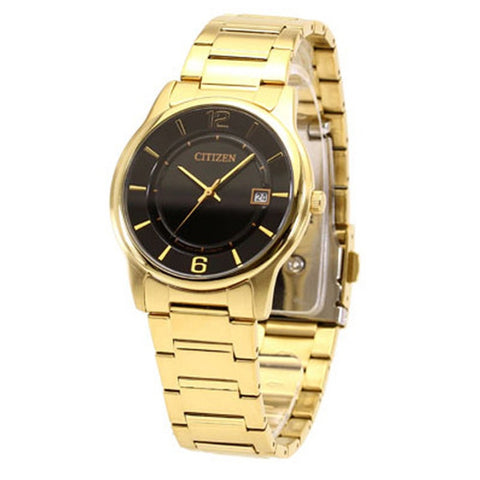 Citizen Men's Gold Stainless Steel Black Dial Analog Watch BD0023-56E