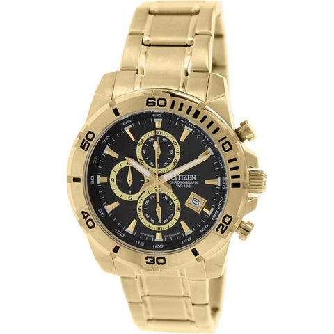 Citizen Mens Gold Stainless Steel Chrono Watch NWT AN3492-50E
