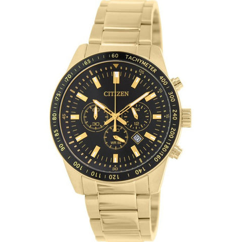 Citizen Mens Gold Stainless Steel Chrono Watch NWT AN8072-58E