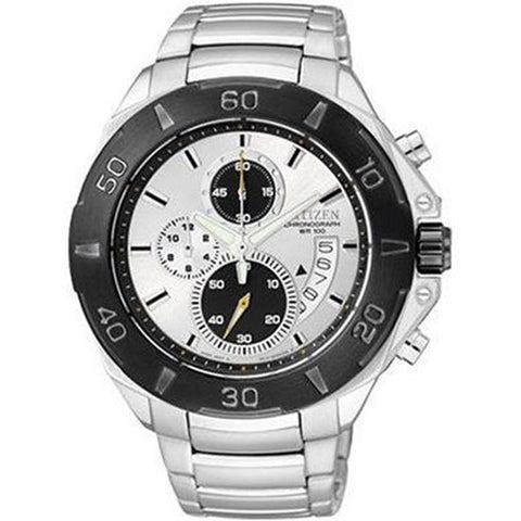 Citizen Mens Silver Stainless Steel Chrono Watch NWT AN3401-55A