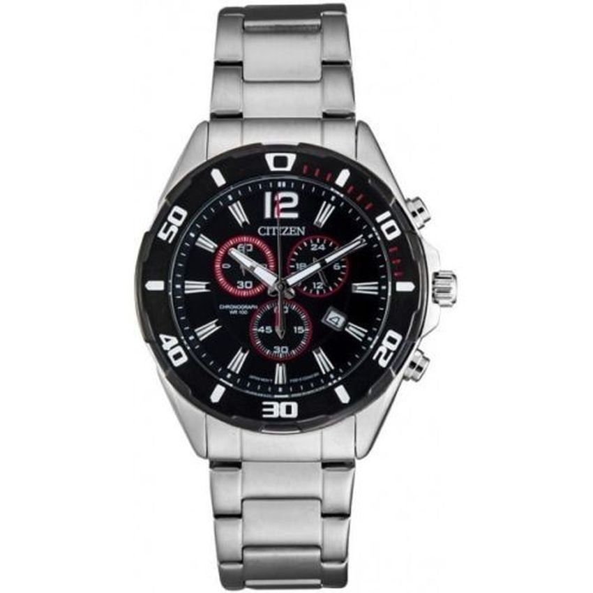 Citizen Mens Silver Stainless Steel Chrono Watch NWT AN7110-56F
